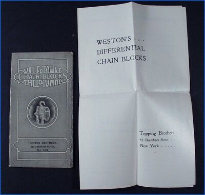 Vintage Yale & Towne Chain Block Booklet, Topping Brothers, New York