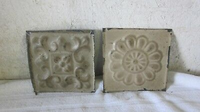 Sold Prior to Listing 32 Tin Ceiling Tiles 6 x 6 Two Designs 16 of Each as Shown