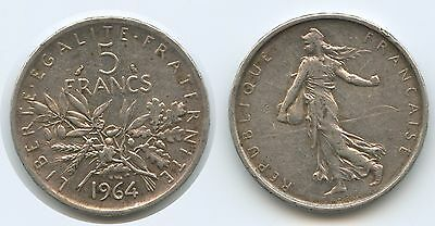 G9281 - France 5 Francs 1964 KM#926 Liberty Seed Sower France Silver Frankreich