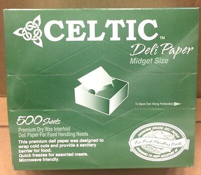 "Celtic 6 x10.75"" Interfolded Pop-up Dry Wax Deli Sandwich Paper 500 Pack Sheets"