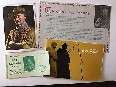 Scouts Canada. selection of Four Lord Baden-Powell Booklets and Cards