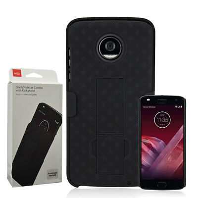 Verizon OEM Shell Holster Hybrid Kickstand Case For Moto Z Play Z2 Play Z2 Force