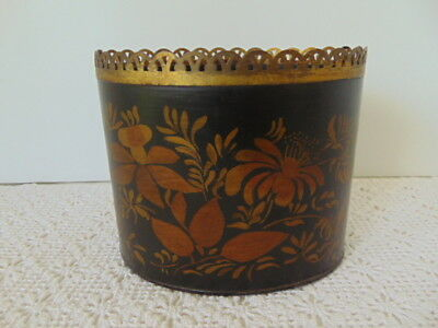 Vintage Metal Toleware Desk Caddy or Cachepot Planter Black Gold Hitchcock Style