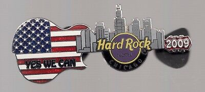 2009 Hard Rock Hotel President Obama Inauguration Pin Chicago Yes We Can Guitar