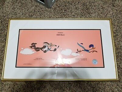 "Warner Brothers ""Beep Beep"" Road Runner / Wile E. Coyote Serigraph Cell framed"