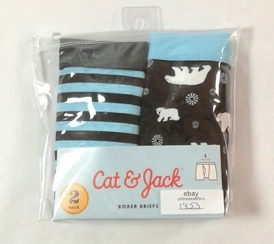 Boys Cat & Jack 2 Pack Boxer Brief Underwear Size Large 12-14 100% Cotton (1853)