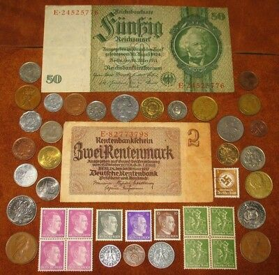 GERMAN NAZI COINS WITH SWASTIKA! GERMANY STAMPS & BANKNOTES! WORLD COINS! (f77)