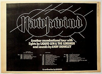 HAWKWIND 1975 original POSTER ADVERT UK CONCERT TOUR warrior on the edge of time