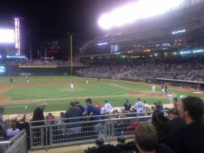 2 Home Plate Box Tickets Minnesota Twins vs Cleveland Indians 6/3