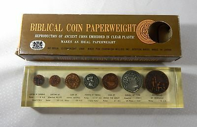 Vintage Biblical Coins Set In Lucite Paperweight In Box