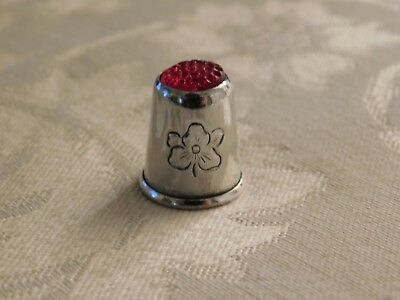 Antique Vintage Victorian Sterling Silver Thimble Flower Red Dimpled Top 925 5