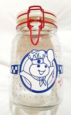 Anchor Hocking Pillsbury Doughboy Clear Glass Canister Jar with Lid