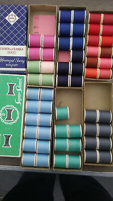 VINTAGE New wooden SEWING THREAD SPOOLS LOT OF 54  from the 60's new