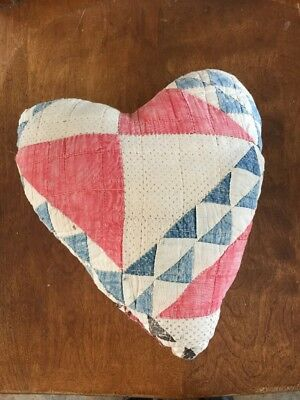 Antique Vintage Quilt Quilted Heart Pillow Handmade
