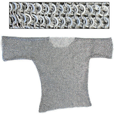Re-enactment Medieval Theater Aluminum Haubergeon Chainmail Large