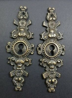 "2 Vtg. Antique Style French Eschutcheons Key Hole Cover 4-1/4"" jewelry part #E19"