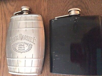 Lot 2 JACK DANIELS hip flask stainless 6oz whiskey barrel '07 screw cap Old No 7