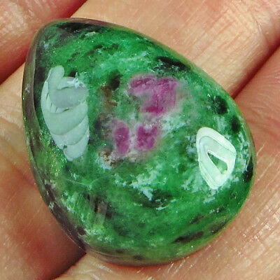 31.45CT 100% Natural Red Green Bi Color Ruby In Zoisite Cab Pendant UCRG193