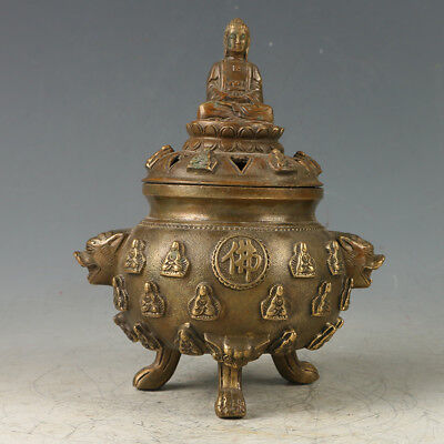 Chinese Exquisite Brass Three Foot Incense Burner Carved Pattern GL568