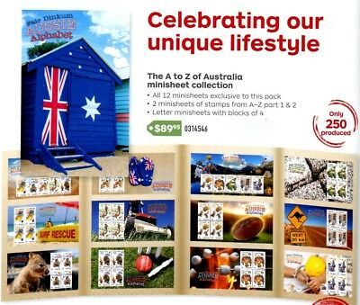 2016 Aussie Alphabet Collection 12 Exclusive Mini Sheets Ltd Edt of 250 numbered