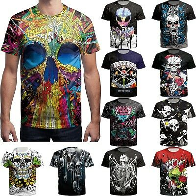 Fashion Men's 3D Printed Rose Skull T-shirts Funny Casual Short Sleeve Tee Tops