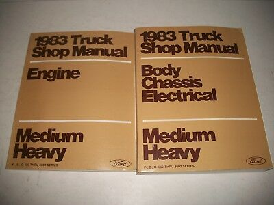 1983 Ford Truck Medium & Heavy Duty Shop Manual Set Engine / Chassis Very Clean