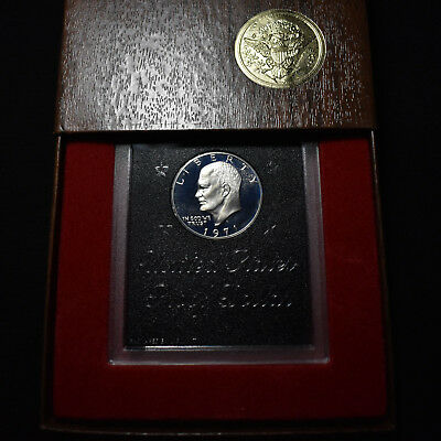 """1971-S  """"brown Ike"""" Proof Eisenhower Silver Dollar With Case"""