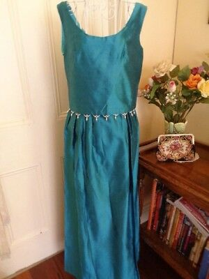 VINTAGE 1960/70's DARK AQUA FORMAL MAXI SKIRT & TOP