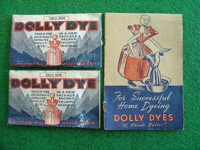 Vintage 1950's Dolly Dyes instruction booklet & 2 dye packs/retro/grocery