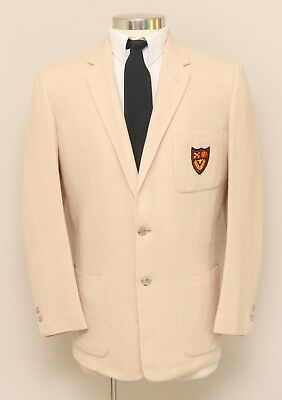 Vintage 1960s Mens 40R Town Clad Tan Wool Blazer with Patch on the Pocket