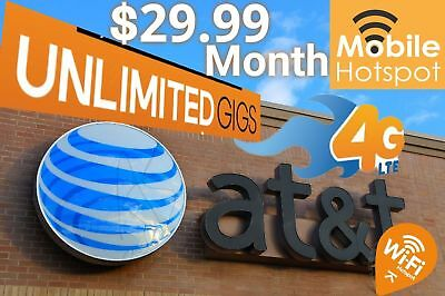 AT&T Unlimited Data 4G LTE Plan* $29.99 a month*For Hotspots / Tablets / Phones
