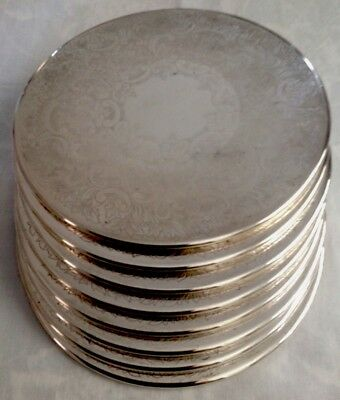 Set Of 8 Large 20.5cm Strachan SilverPlated Placemat Coasters