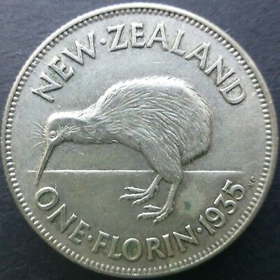 1935 New Zealand One Florin Silver Coin