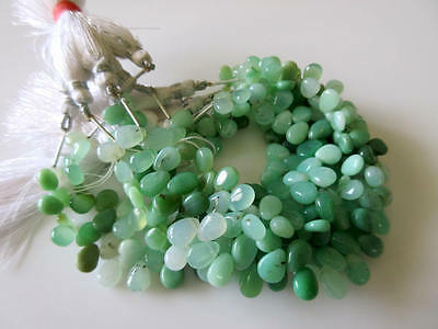 Natural Green Chrysoprase Smooth Pear Briolette Beads 7 Inches Of 6x8mm GDS752