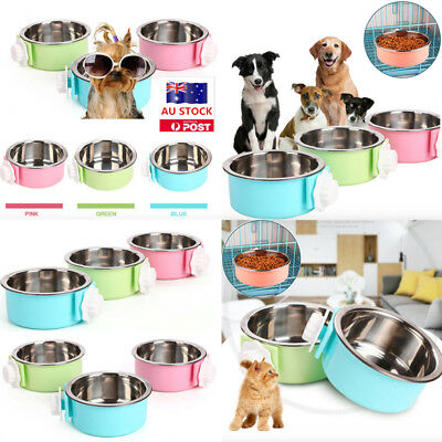 AU Pet Dog Cat Rabbit Food Water Fixed Stainless Steel Bowl Cage Hanging Feeder