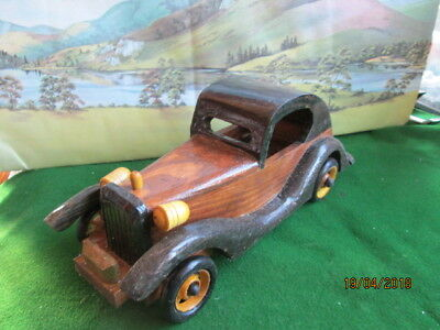 "Treen - Model Vintage Motor Car Made Of Stained Timber Aprox 9"" Long - Boxed"