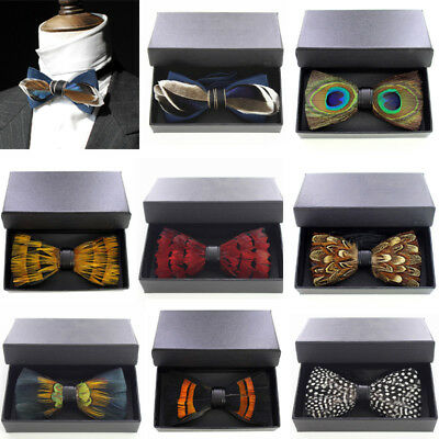 New Style Feather Bow Tie Cravat Formal Bowtie Party Necktie Handmade Best Gift