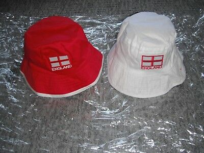 Reversible Football World Cup England Sun Hat  Red/ White Adult