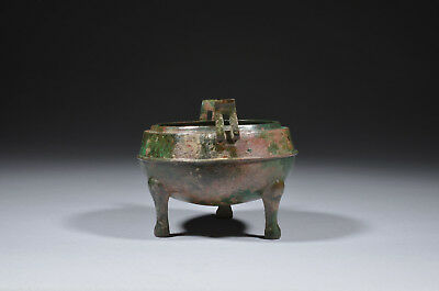 Antique Chinese Bronze Tripod Vessel DING, Warring States Period