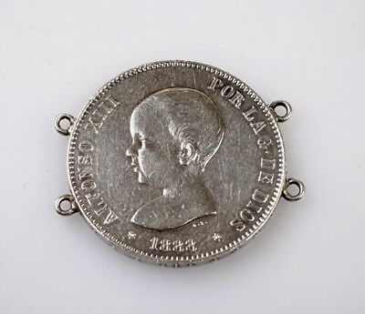 Spanish 5 Pesetas Silver Coin 1888 Alfonso XIII Love Token 'Guillermo' Antique