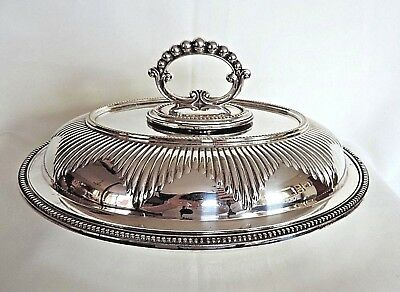 Antique Silver Plate Tureen/Entree Dish 30cm Wide Hallmark on Base