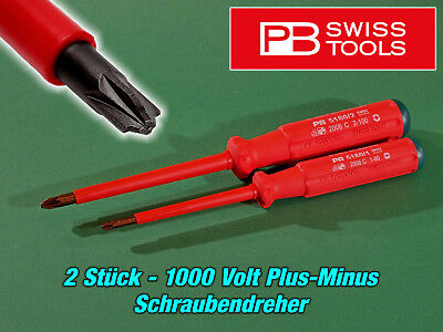 2 x  PB Swiss - 1000 Volt Plus-Minus Schraubendreher