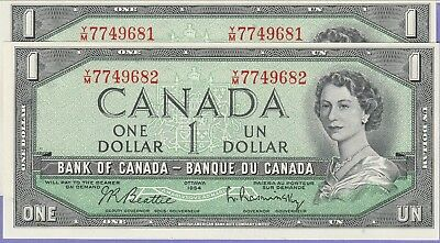 Canada-(2),1 Dollar Banknote 1954(1961-72) Uncirculated Condition Cat#75-B-81-82