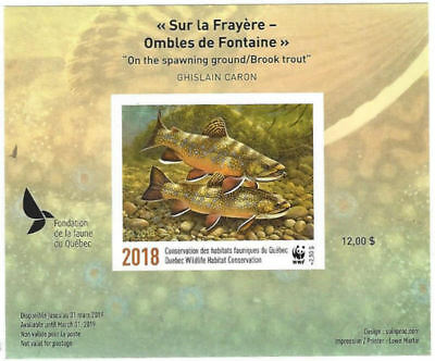 2018 Canada Quebec Wildlife Conservation WWF-DQ89a overprinted  IMPERF   Mint NH