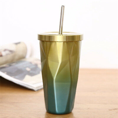 Coffee Mug Insulated Thermos Cup Travel 500ml Steel Stainless and Drinking Straw