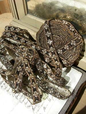 7.05 mtrs (7.2 yards) antique 1920s hand embroidered sequin wirework edging trim