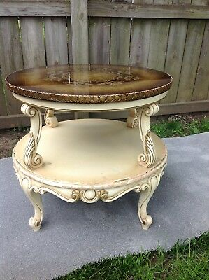 vintage End table french provincial oak gold painted glass top ca 1960's