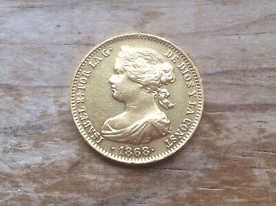 1868 Spain gold 10 Escudos  @@@ must see @@@
