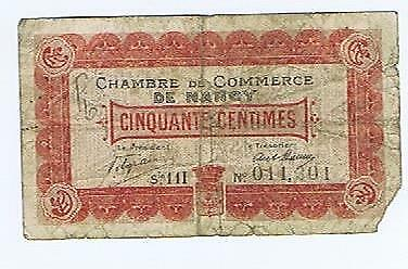 France Chambre de Commerce de Nancy  50 centimes  1918 G notgeld ticket #131