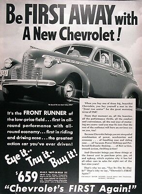 1940 CHEVROLET SPECIAL DELUXE SEDAN Genuine Vintage Advertisement ~ $659 and up